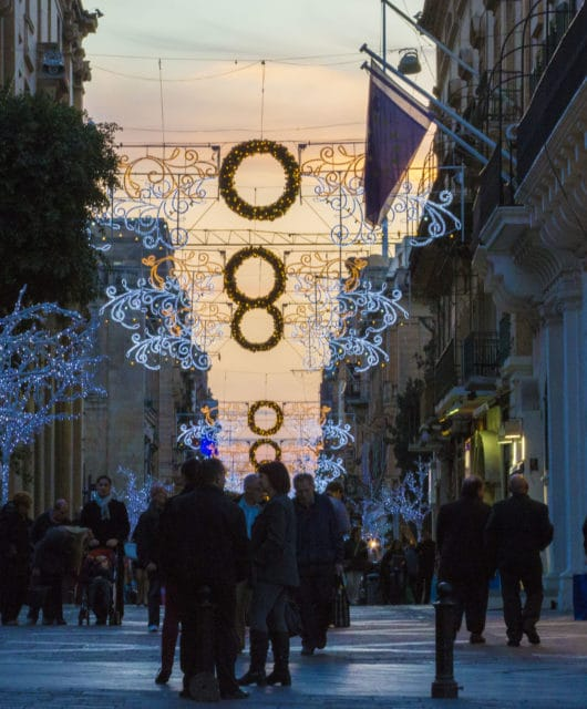 Christmas decorations in Valletta